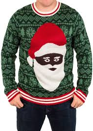 Festified Men\u0027s Black Santa Ugly Christmas Sweater in Green |