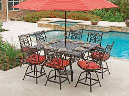 milan 9 pc cast aluminum gathering height setwith 64 square table