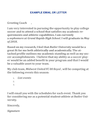 Writing A Letter To Coaches