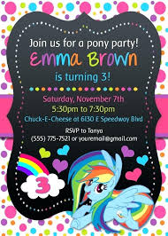 Credit Card Party Invitations My Little Pony Custom Invitations Little Pony Credit Card