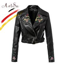artsu short coats 3d fl embroidery zipper faux leather jackets women europe brand turn down collar winter outwear asco20105