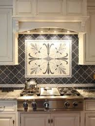 kitchen ceramic backsplash tile ideas black with mosaic medalion