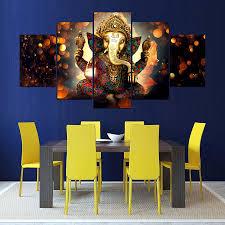 <b>Modular</b> Print <b>Decor Canvas</b> Painting 5 Pcs India Lord Ganesha ...