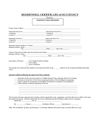 Certificate Of Occupancy Residential Form And Format Requirements