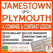 Jamestown And Plymouth Comparison Chart Jamestown And Plymouth Worksheets Teaching Resources Tpt