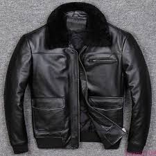 details about 100 real sheepskin jacket motor men lamb fur collar leather er coat biker v1