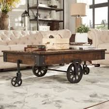 industrial modern furniture. Rustic Coffee Table Industrial Modern Cocktail Tables Cart Wheels Furniture Iron A