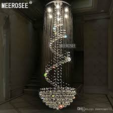 2019 luxurious long size crystal chandelier light fixture modern re de cristal light for lobby staircase stairs foyer cystal stair lighting from