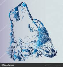Náčrt Tetování Vyjící Vlk Zvíře Je Dravec Modrá Stupnice Je Nápad