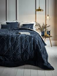 pin tucked velvet linen kingsize quilt blue