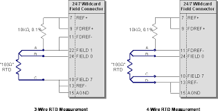 rtd amplifier circuit, measuring rtds, connecting rtd to analog to Four Wire Rtd circuit for measuring 3 wire and 4 wire rtd resistances with a 24 four-wire rtd measurement