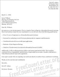 Sample Research Cover Letter Biomedical Research Assistant Cover Letter Sample