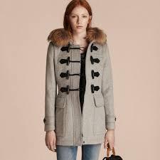 burberry women wool duffle coat with detachable fur trim light grey melange coats