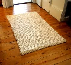 Crochet Rug: chunky cream pure wool Wondering if the Tunisian Crochet  simple stitch could create