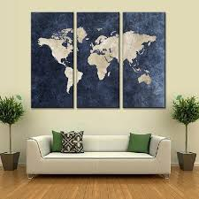 New 3 Pcs/Set Abstract Navy Blue World Map Canvas Painting Modern Wall  Pictures For