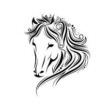 tribal horse head silhouette. Delighful Silhouette Stylized Doodle And Curls Horse Portrait Ink Tribal Head Design  Perfect For Logo To Tribal Horse Head Silhouette