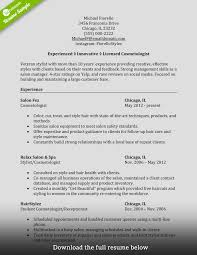 Resume Examples For Cosmetologist How To Write Fabulous Cosmetology Resume Samples Free Career 14