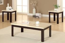 White Coffee Table And End Tables Modern White Granite Top Coffee Table With Brown Painted Oak Wood