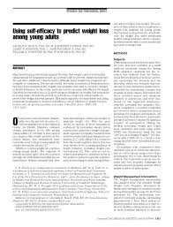 PDF) Using self-efficacy to predict weight loss among young adults