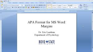 Ms Word Apa Format Apa Format For Microsoft Word Margins Youtube