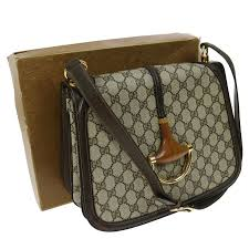 gucci bags with money. authentic gucci gg pattern shoulder bag brown pvc leather vintage good m12874 gucci bags with money