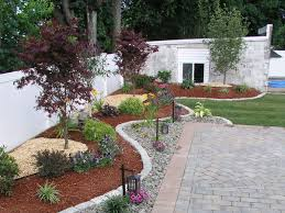 Chic Front And Backyard Landscaping Ideas Front Yard Landscape Ideas With  Grey Wall Landscape Designs Front