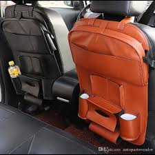 car seat back storage hang bag organizer travel multi pocket universal pu leather back seat cover protector auto accessories car trunk storage ideas car
