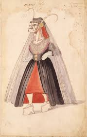 the origins of ballet victoria and albert museum ballet costume design for the old dowager in la douairère de dillebahaut watercolour drawing handwritten annotation 1626