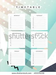 week time schedule template planner calendar schedule week abstract design stock vector