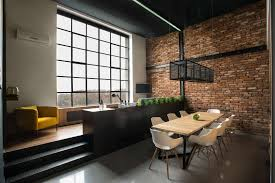 Furniture:Admirable Loft Furniture Ideas With Mdf Dining Table And Acrylic  Chairs And High Windows