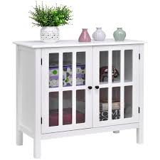 storage buffet cabinet glass door sideboard console table server display white 1 of 11free