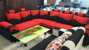 red and black wooden sofa set rs 25000