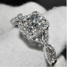 infinity diamond engagement ring. simulated diamond 3ct cushion cut split shank engagement ring .925 sterling silver, $329.95 infinity