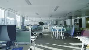 contemporary glass office. Interior View Of Empty Office Work Stations In A Large Contemporary City Building No Glass V