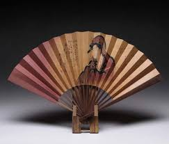 "Japanese Fan Display Stand Japanese Folding Hand Fan ""Sensu"" And Display Stand Set Utamaro 1"