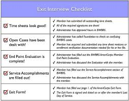 Exit Interview Checklist The Bonner Network Wiki Exiting From Americorp S