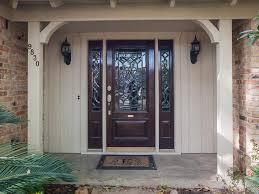 country front doorsWood Front Door With Sidelites  Hanging Curtain for Front Door