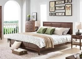 Oak Dark Wood Bedroom Furniture Classical Style , Home Solid Wood Queen Bedroom  Set