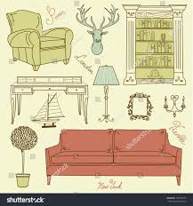 living room furniture clipart. set of furniture icons, living room home interior design clipart
