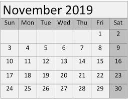 Callendar Planner Free Printable November 2019 Calendar Planner Template