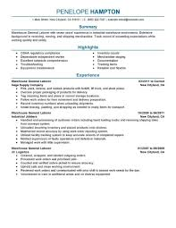 Resume Objective Examples For General Labor Svoboda2 Com