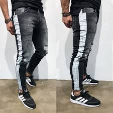 <b>2019 new</b> Denim Jeans <b>Men</b> Stretch Patchwork Black Jeans <b>Ripped</b> ...