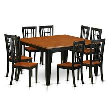 get ations east west furniture pfni9 bch w 9 piece dining table and 8 solid wood