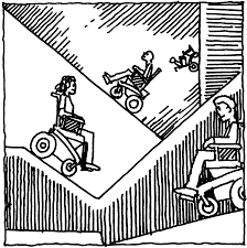 cartoon a person on a wheelchair riding up and down a ramp