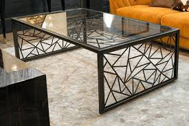 art coffee table glass steel rectangular deco perth