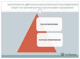 Презентация на тему Презентация к уроку на тему Себестоимость  10 применяются две взаимодополняющие классификации затрат на производство и реализацию продукции поэлементная калькуляционная