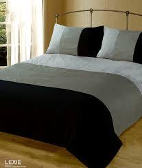 double bed duvet quilt cover bedding set lexie black grey plain 3 tone co uk kitchen home