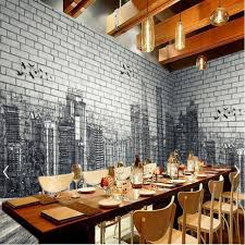 urban architecture black white hand painted brick wall 3d background wall painting large fresco paper