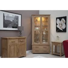 Solid Living Room Furniture Eton Solid Oak Living Room Furniture Glazed Display Cabinet