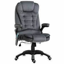 <b>Faux</b> Velvet Reclining Heated Office <b>Massage Chair Grey</b> High Back ...